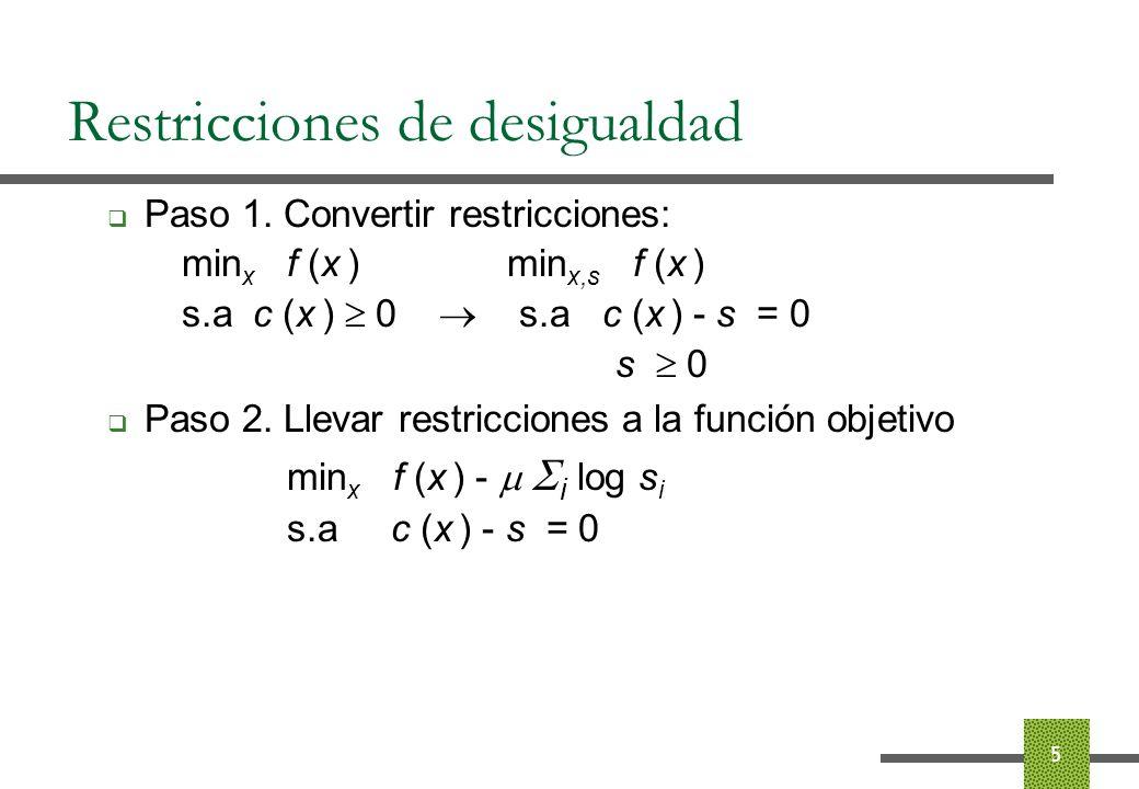 Restricciones de desigualdad Resultado teórico: Sea x * ( ) la solución del problema min x f (x ) - i log s i s.a c (x ) - s = 0, se cumple que lim 0 x * ( ) = x *, donde x * es la solución de min x f (x ) s.a c (x ) 0 6