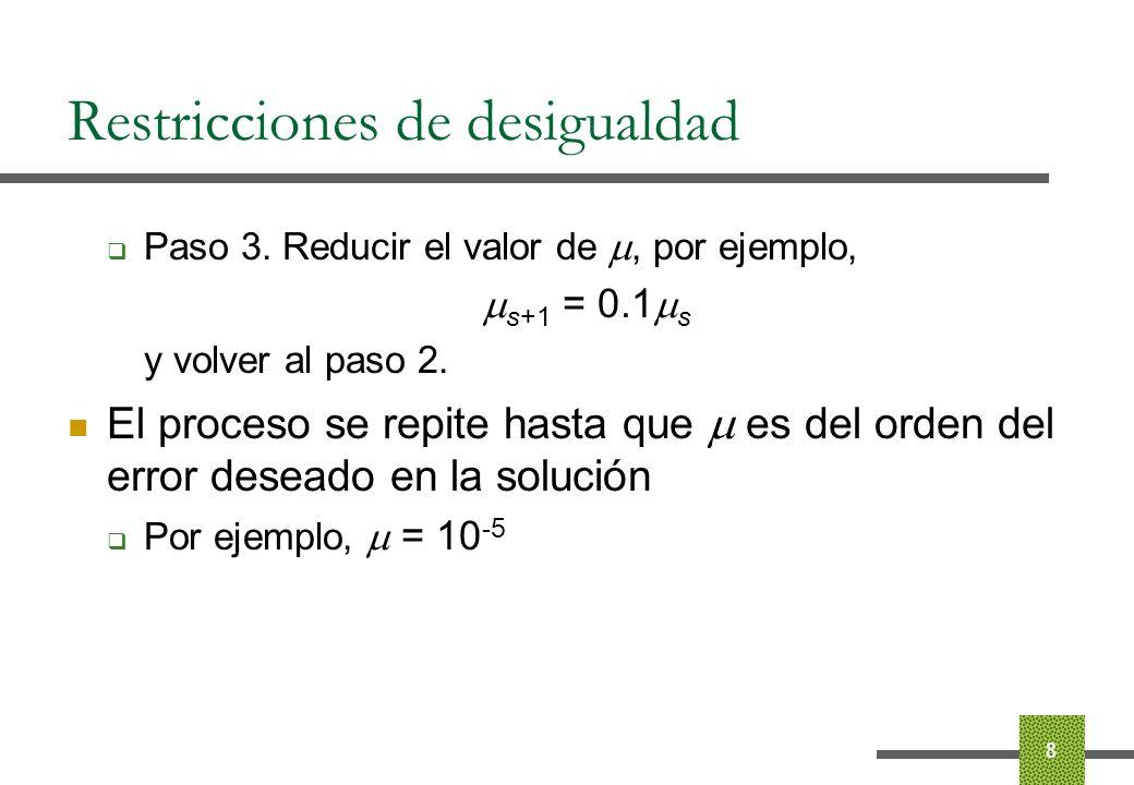 Restricciones de desigualdad Precauciones con la función objetivo La función objetivo solo está definida para valores positivos de las variables s i El punto inicial ha de tener s estrictamente positivo La longitud de paso debe asegurar que todos los puntos tengan las s i positivas 9