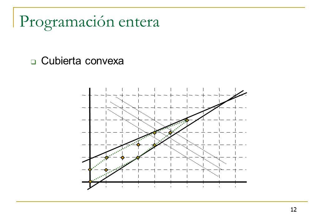 Programación entera Métodos más eficientes: Combinación de ideas se añaden restricciones que aproximan la cubierta convexa (planos de corte), o se añaden restricciones que eliminan puntos que no pueden ser solución (branch and bound) se resuelven problemas lineales relajados 13