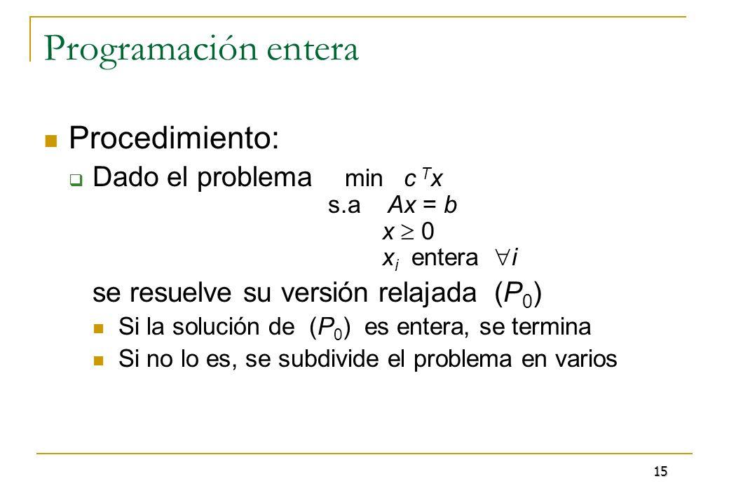 Programación entera División del problema Supongamos que la solución del problema relajado es x k *, y que (x k * ) i no es entera En la solución (entera) se cumplirá una de las dos condiciones siguientes: x i (x k * ) i, x i (x k * ) i + 1 donde x denota la parte entera de x 16