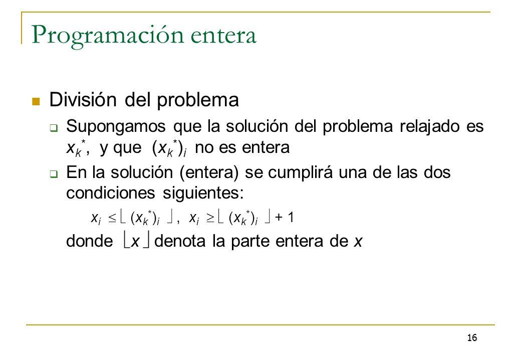 Programación entera División del problema Se generan los dos problemas siguientes: P 1 = P 0 {x i (x k * ) i }, P 2 = P 0 {x i (x k * ) i +1} En general, se tiene una lista de problemas pendientes de resolver Se toman los problemas de la lista, y se resuelven hasta que la lista queda vacía 17
