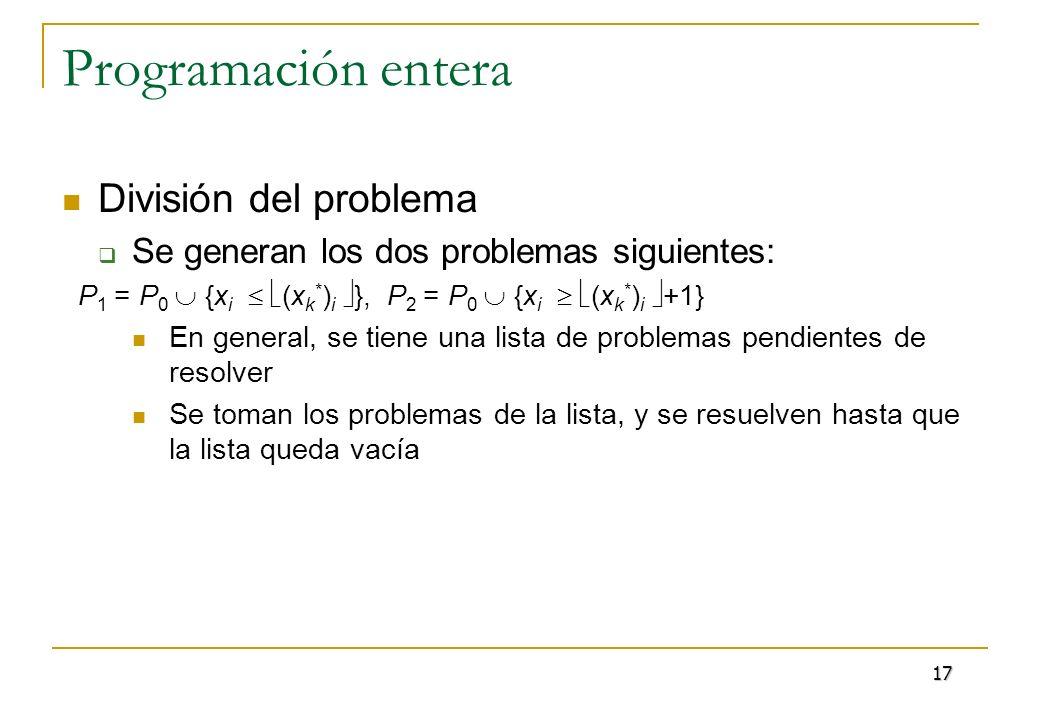 Programación entera División del problema Se generan los dos problemas siguientes: P 1 = P 0 {x i (x k * ) i }, P 2 = P 0 {x i (x k * ) i +1} En gener