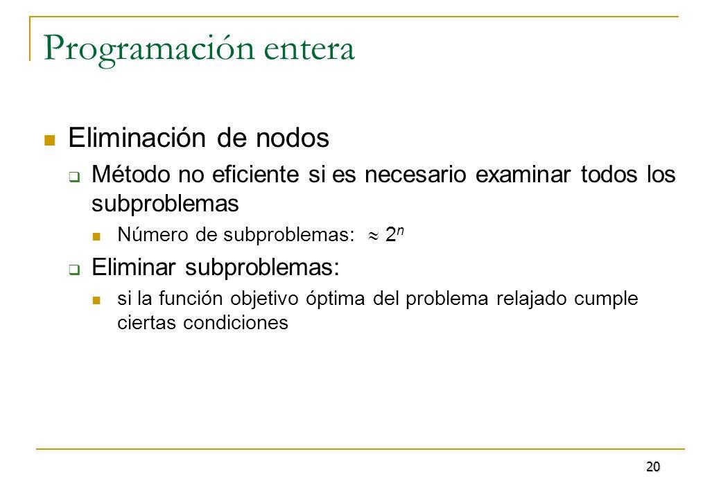 Programación entera Eliminación de nodos Método no eficiente si es necesario examinar todos los subproblemas Número de subproblemas: 2 n Eliminar subp