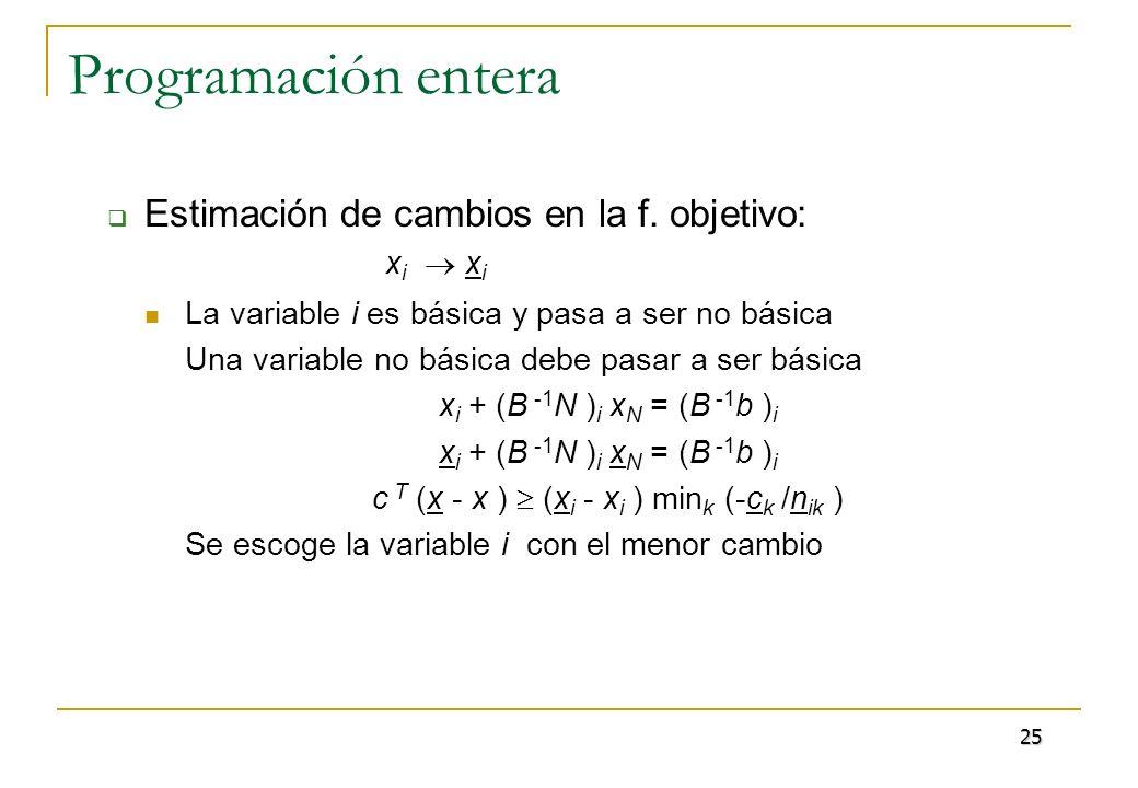 Programación entera Estimación de cambios en la f. objetivo: x i x i La variable i es básica y pasa a ser no básica Una variable no básica debe pasar