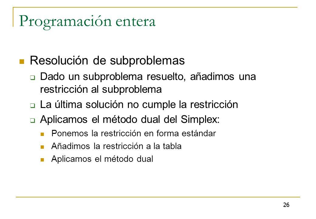 Programación entera Ejemplo: max 8x 1 + 9x 2 s.a 76 x 1 + 68 x 2 767 -38 x 1 + 32 x 2 29 2 x 2 3 x 0 entera Solución del problema relajado: x 1 = 9/2, x 2 = 25/4 3 = -299/2508, 4 = -70/2508 27