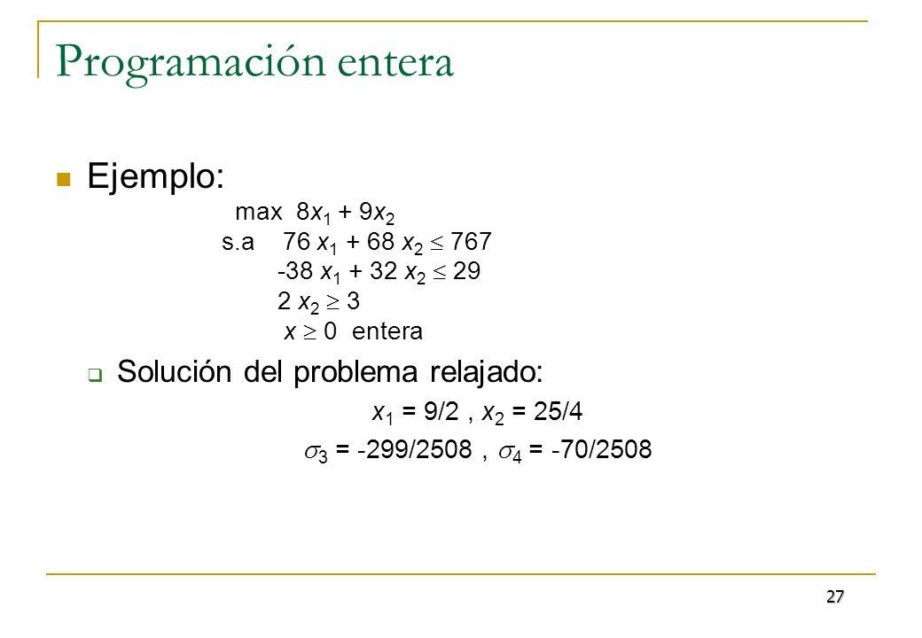 Programación entera Ejemplo: max 8x 1 + 9x 2 s.a 76 x 1 + 68 x 2 767 -38 x 1 + 32 x 2 29 2 x 2 3 x 0 entera Solución del problema relajado: x 1 = 9/2,