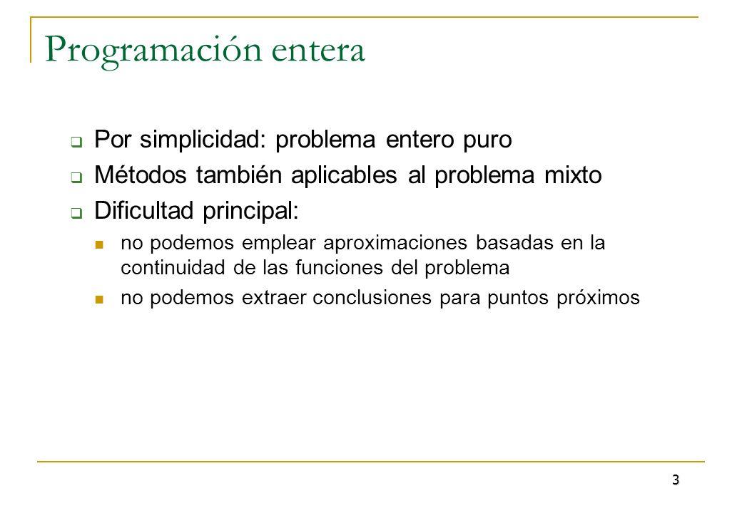 Programación entera Por simplicidad: problema entero puro Métodos también aplicables al problema mixto Dificultad principal: no podemos emplear aproxi