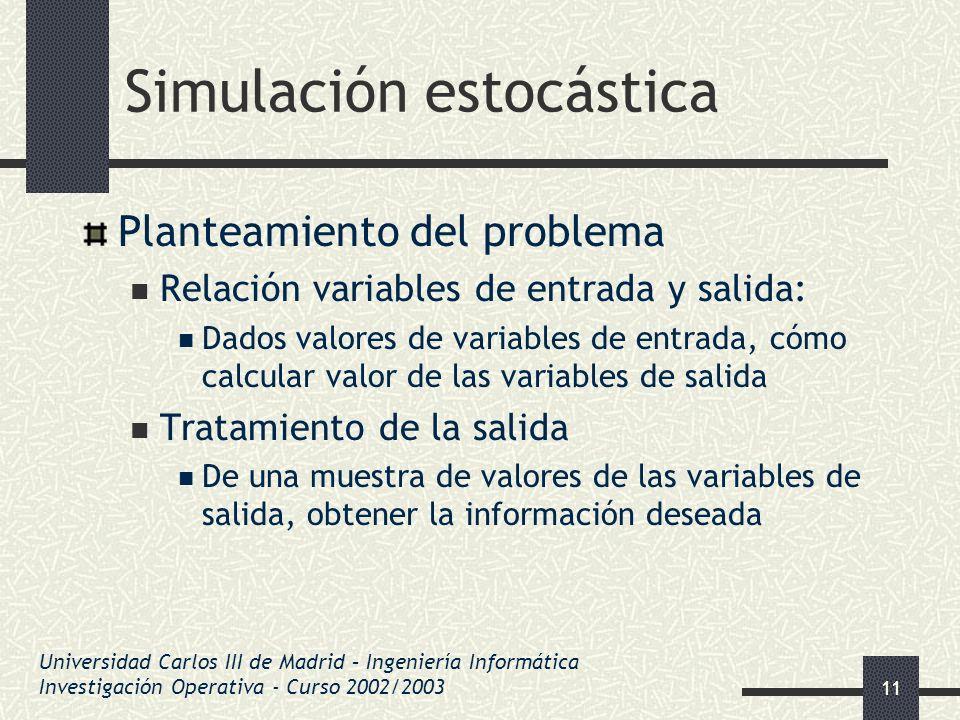 11 Simulación estocástica Planteamiento del problema Relación variables de entrada y salida: Dados valores de variables de entrada, cómo calcular valo