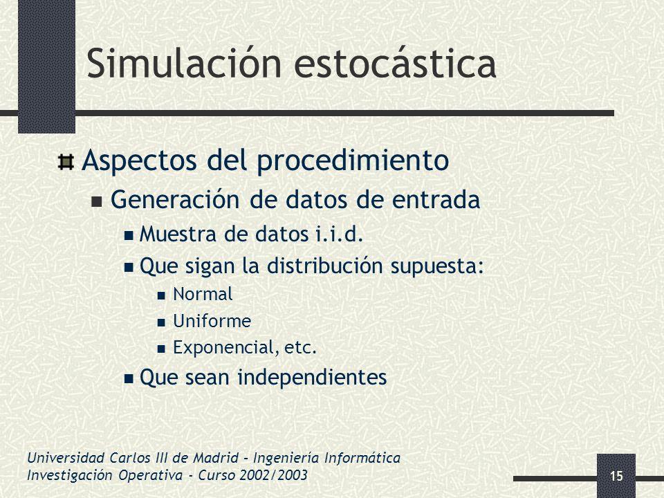 15 Simulación estocástica Aspectos del procedimiento Generación de datos de entrada Muestra de datos i.i.d. Que sigan la distribución supuesta: Normal