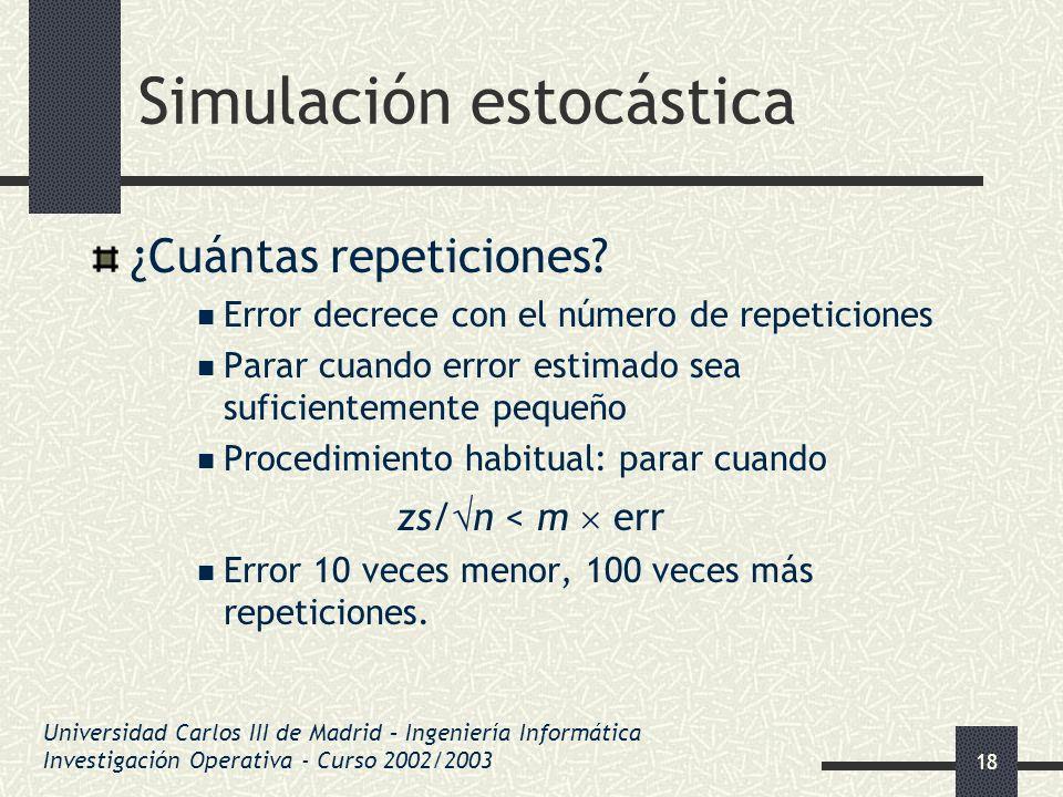 18 Simulación estocástica ¿Cuántas repeticiones? Error decrece con el número de repeticiones Parar cuando error estimado sea suficientemente pequeño P