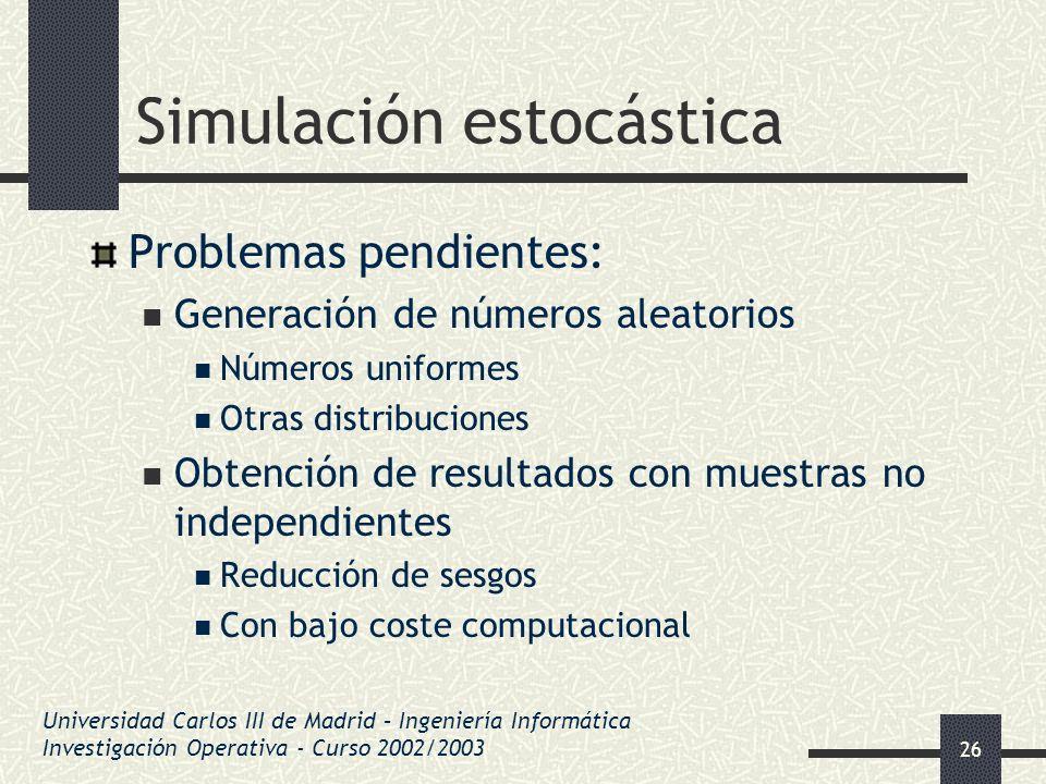 26 Simulación estocástica Problemas pendientes: Generación de números aleatorios Números uniformes Otras distribuciones Obtención de resultados con mu