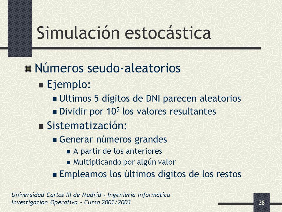28 Simulación estocástica Números seudo-aleatorios Ejemplo: Ultimos 5 dígitos de DNI parecen aleatorios Dividir por 10 5 los valores resultantes Siste