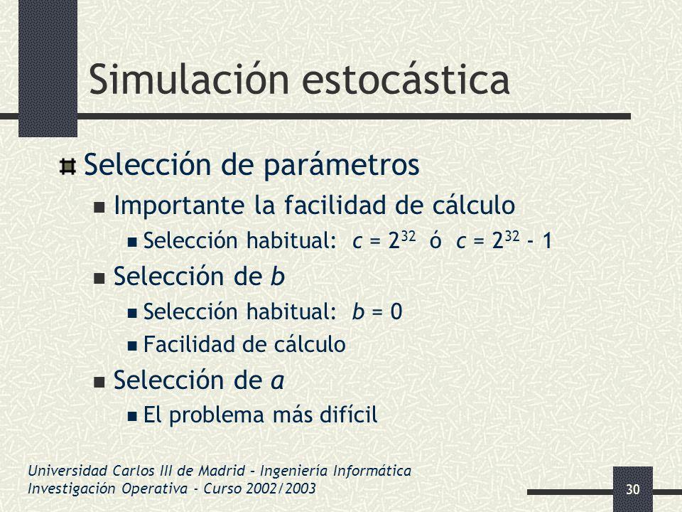 30 Simulación estocástica Selección de parámetros Importante la facilidad de cálculo Selección habitual: c = 2 32 ó c = 2 32 - 1 Selección de b Selecc