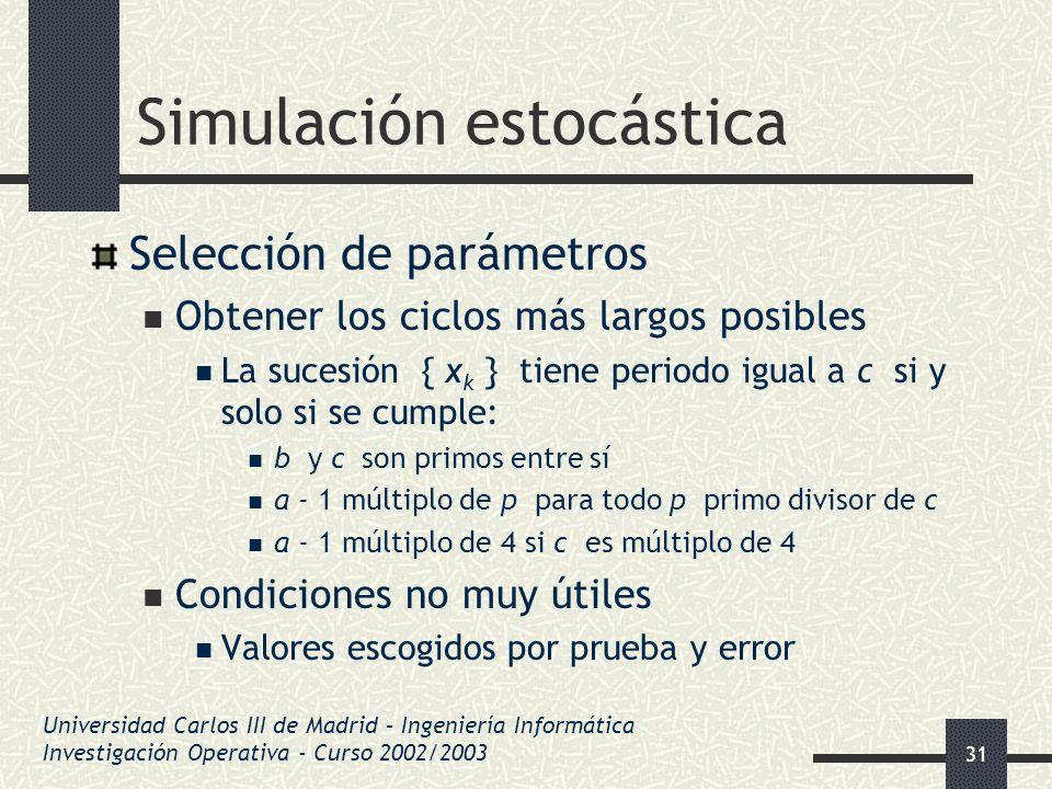 31 Simulación estocástica Selección de parámetros Obtener los ciclos más largos posibles La sucesión { x k } tiene periodo igual a c si y solo si se c