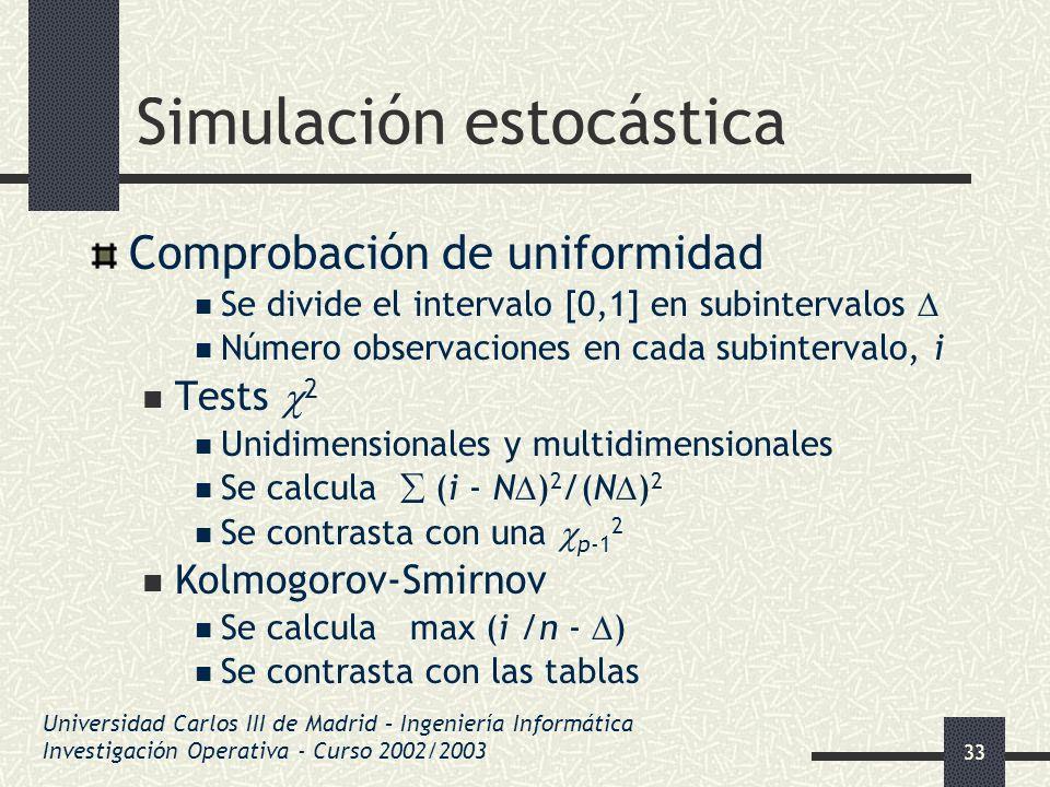 33 Simulación estocástica Comprobación de uniformidad Se divide el intervalo [0,1] en subintervalos Número observaciones en cada subintervalo, i Tests