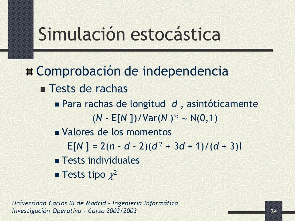 34 Simulación estocástica Comprobación de independencia Tests de rachas Para rachas de longitud d, asintóticamente (N - E[N ])/Var(N ) ½ N(0,1) Valore