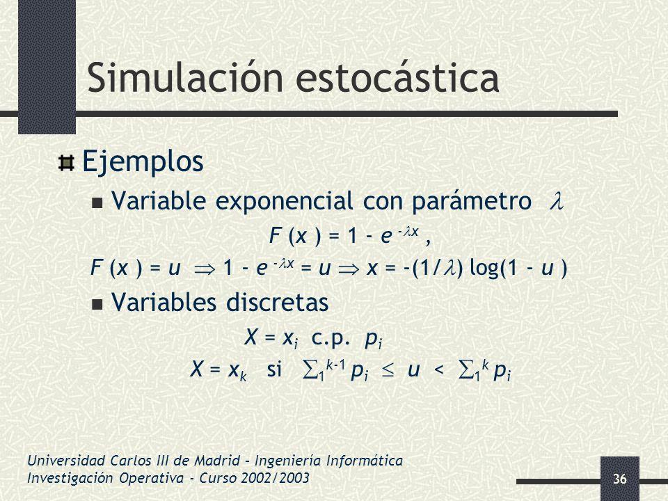 36 Simulación estocástica Ejemplos Variable exponencial con parámetro F (x ) = 1 - e - x, F (x ) = u 1 - e - x = u x = -(1/ ) log(1 - u ) Variables di
