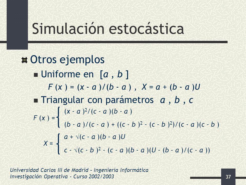 37 Simulación estocástica Otros ejemplos Uniforme en [a, b ] F (x ) = (x - a )/(b - a ), X = a + (b - a )U Triangular con parámetros a, b, c (x - a )