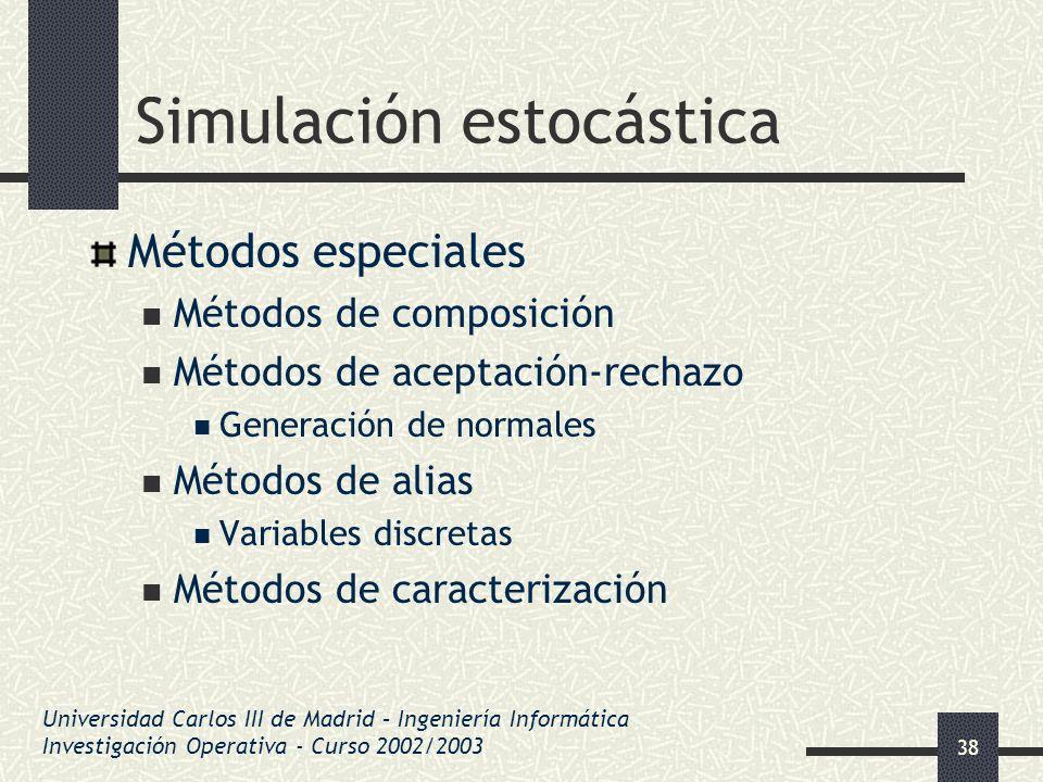 38 Simulación estocástica Métodos especiales Métodos de composición Métodos de aceptación-rechazo Generación de normales Métodos de alias Variables di