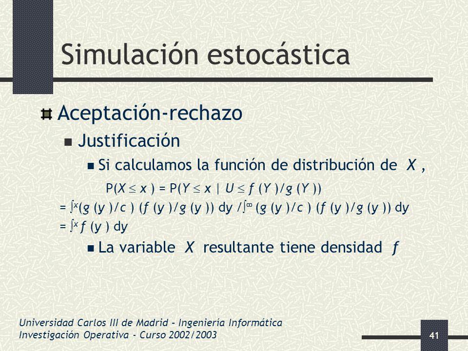 41 Simulación estocástica Aceptación-rechazo Justificación Si calculamos la función de distribución de X, P(X x ) = P(Y x | U f (Y )/g (Y )) = x (g (y