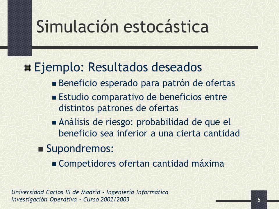 56 Simulación estocástica Ejemplo 2 Problema: Dependencia entre observaciones Solución: Obtener un único valor de toda la simulación Por ejemplo, el beneficio acumulado Otros métodos con menos requisitos computacionales Medias agrupadas, simulación regenerativa Universidad Carlos III de Madrid – Ingeniería Informática Investigación Operativa - Curso 2002/2003