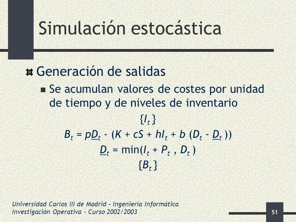 51 Simulación estocástica Generación de salidas Se acumulan valores de costes por unidad de tiempo y de niveles de inventario {I t } B t = pD t - (K +