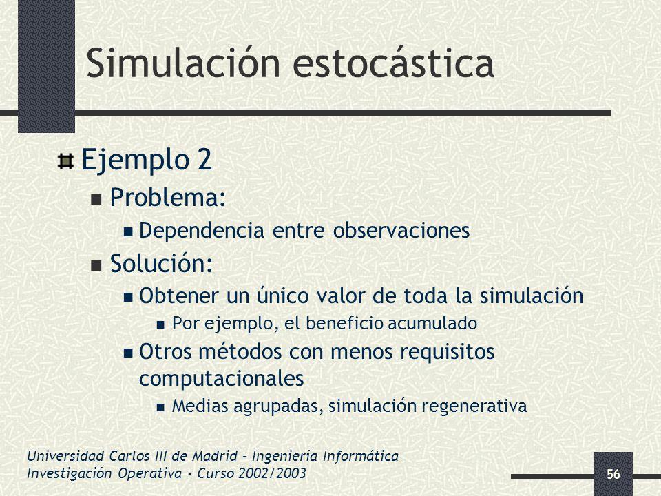 56 Simulación estocástica Ejemplo 2 Problema: Dependencia entre observaciones Solución: Obtener un único valor de toda la simulación Por ejemplo, el b