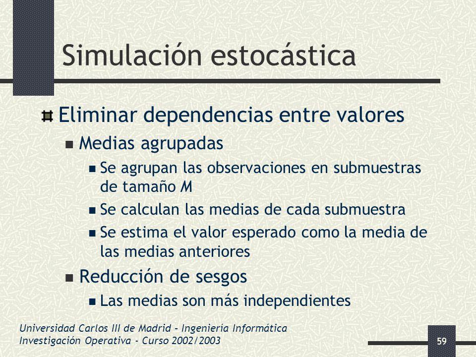 59 Simulación estocástica Eliminar dependencias entre valores Medias agrupadas Se agrupan las observaciones en submuestras de tamaño M Se calculan las