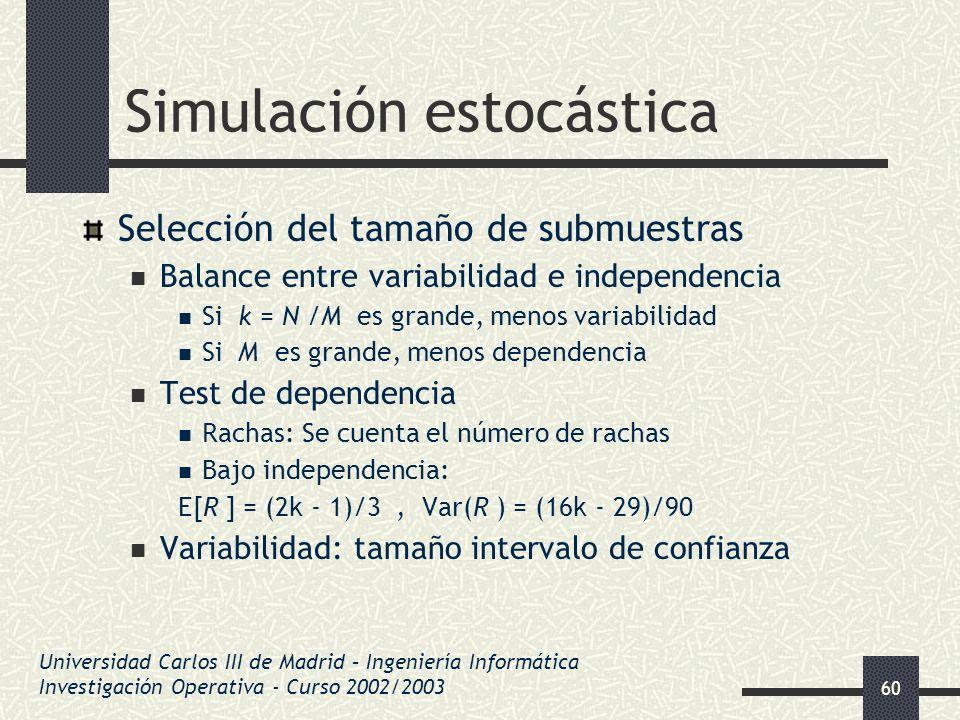 60 Simulación estocástica Selección del tamaño de submuestras Balance entre variabilidad e independencia Si k = N /M es grande, menos variabilidad Si