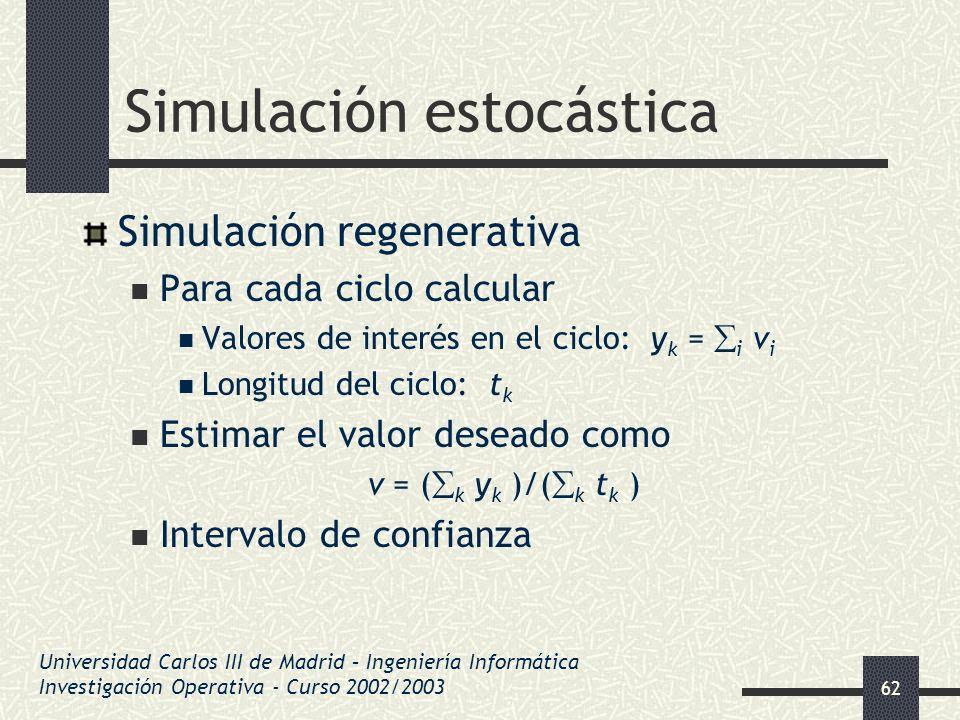 62 Simulación estocástica Simulación regenerativa Para cada ciclo calcular Valores de interés en el ciclo: y k = i v i Longitud del ciclo: t k Estimar
