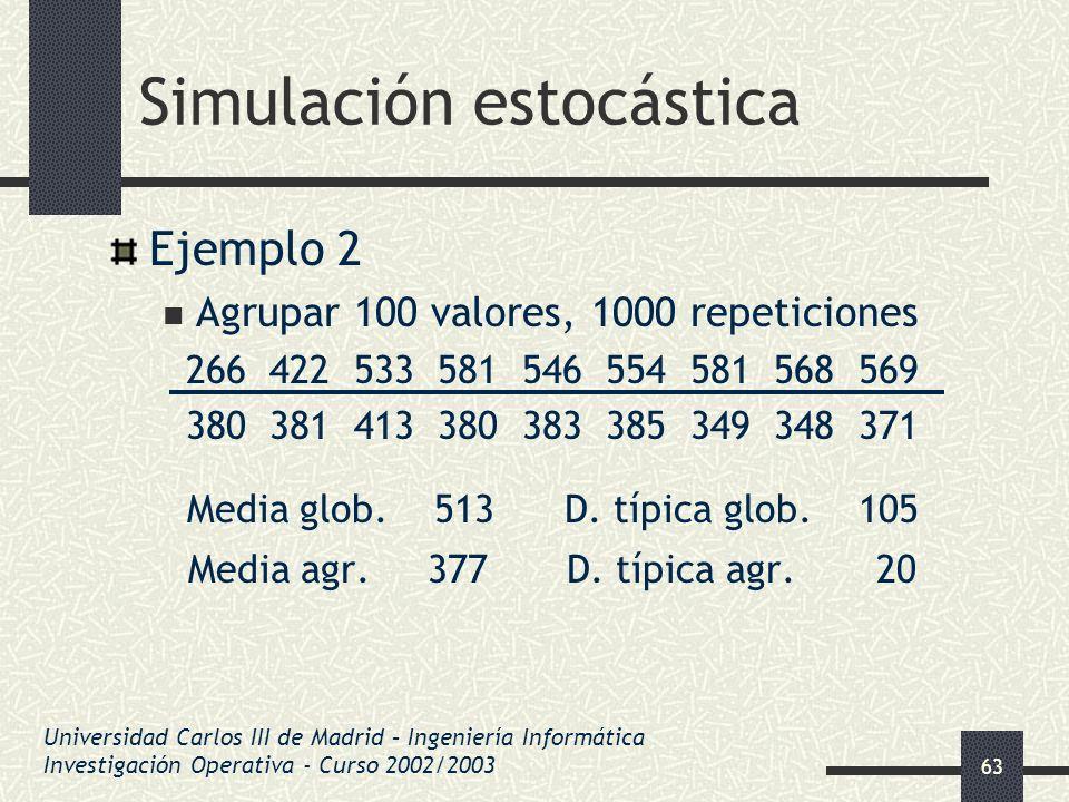 63 Simulación estocástica Ejemplo 2 Agrupar 100 valores, 1000 repeticiones 266 422 533 581 546 554 581 568 569 380 381 413 380 383 385 349 348 371 Med
