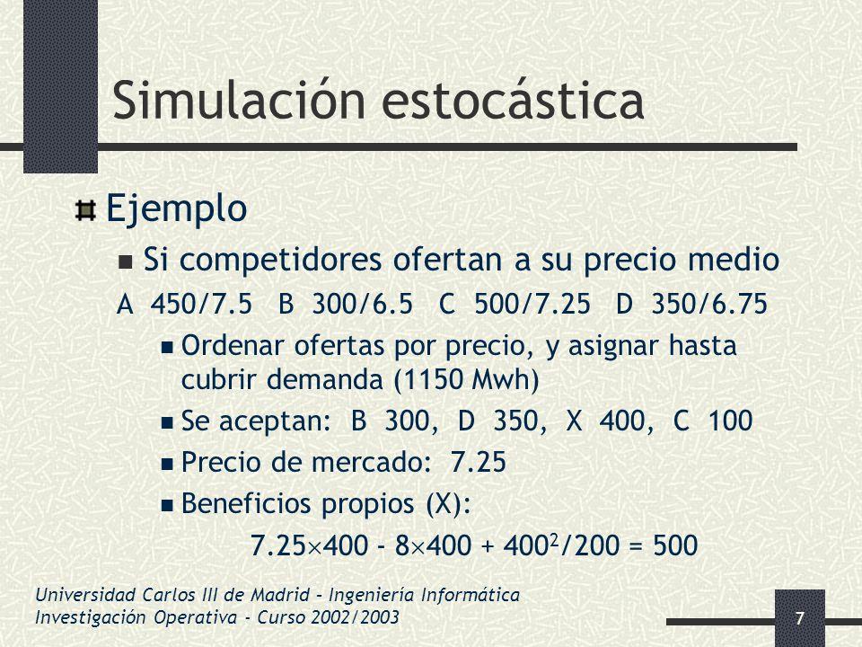 28 Simulación estocástica Números seudo-aleatorios Ejemplo: Ultimos 5 dígitos de DNI parecen aleatorios Dividir por 10 5 los valores resultantes Sistematización: Generar números grandes A partir de los anteriores Multiplicando por algún valor Empleamos los últimos dígitos de los restos Universidad Carlos III de Madrid – Ingeniería Informática Investigación Operativa - Curso 2002/2003