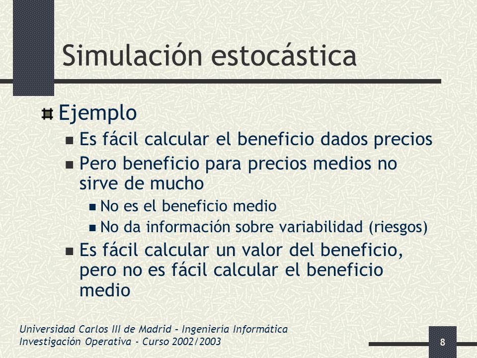 39 Simulación estocástica Métodos de composición Variable como suma de otras variables Generación de p 2 (p par) Generar p /2 exponenciales con parámetro ½ Generación de Gamma(k, ) Generar k exponenciales con parámetro Generación de binomiales (n, p ) Se generan n Bernouillis con parámetro p Generación de normales Se generan 12 uniformes [0,1] Universidad Carlos III de Madrid – Ingeniería Informática Investigación Operativa - Curso 2002/2003