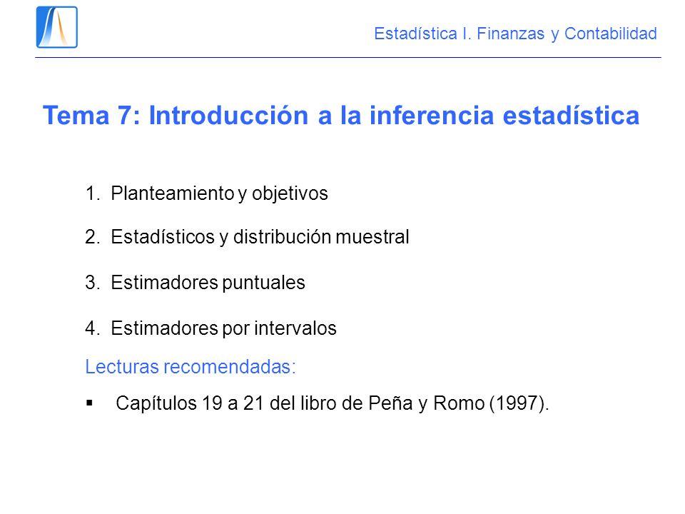 Estadística I. Finanzas y Contabilidad Tema 7: Introducción a la inferencia estadística 1.Planteamiento y objetivos 2.Estadísticos y distribución mues