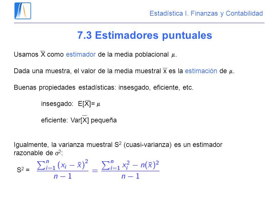 7.3 Estimadores puntuales Usamos X como estimador de la media poblacional. Dada una muestra, el valor de la media muestral x es la estimación de. Buen