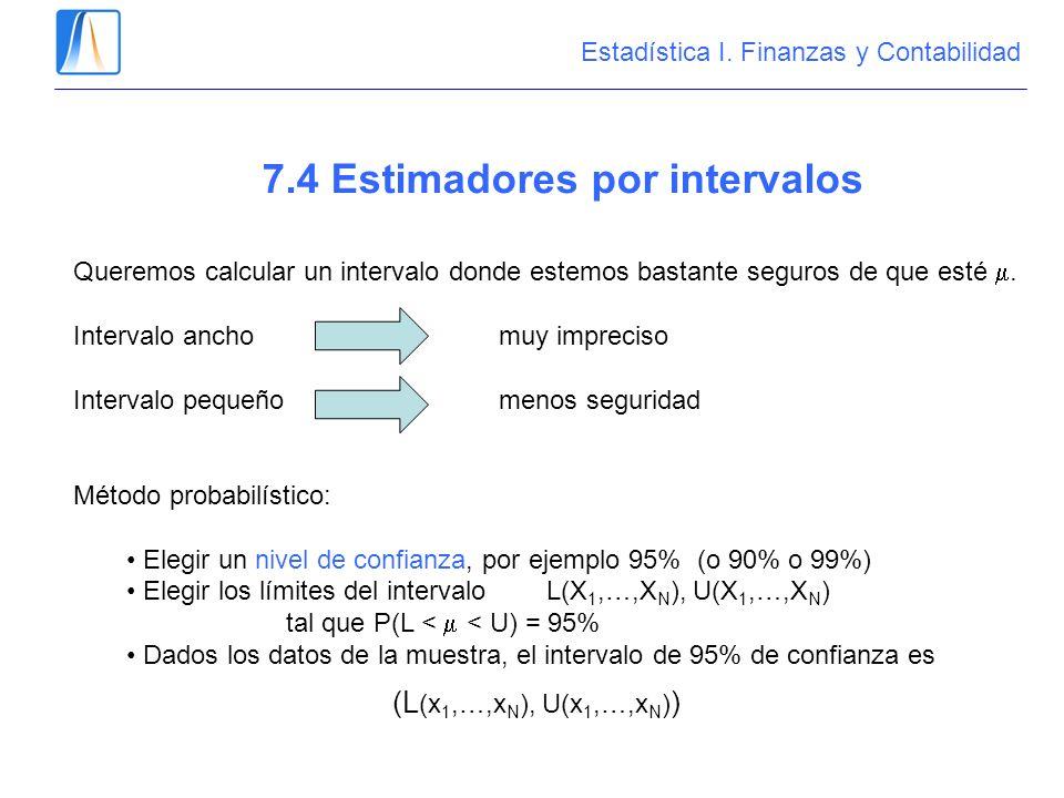 7.4 Estimadores por intervalos Queremos calcular un intervalo donde estemos bastante seguros de que esté. Intervalo ancho muy impreciso Intervalo pequ