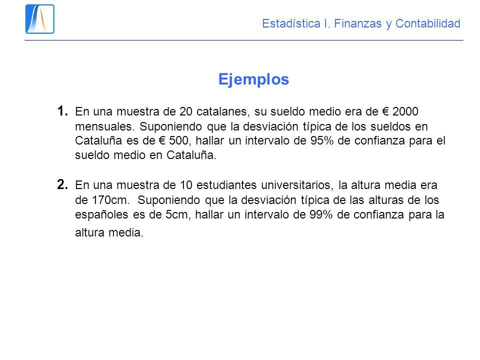 Ejemplos 1. En una muestra de 20 catalanes, su sueldo medio era de 2000 mensuales. Suponiendo que la desviación típica de los sueldos en Cataluña es d