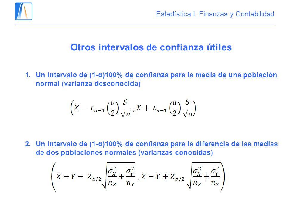 Otros intervalos de confianza útiles 1.Un intervalo de (1-α)100% de confianza para la media de una población normal (varianza desconocida) 2.Un interv