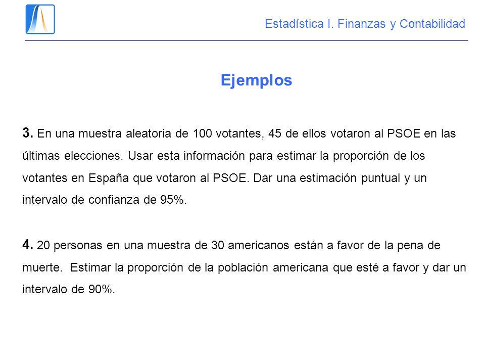 Ejemplos 3. En una muestra aleatoria de 100 votantes, 45 de ellos votaron al PSOE en las últimas elecciones. Usar esta información para estimar la pro