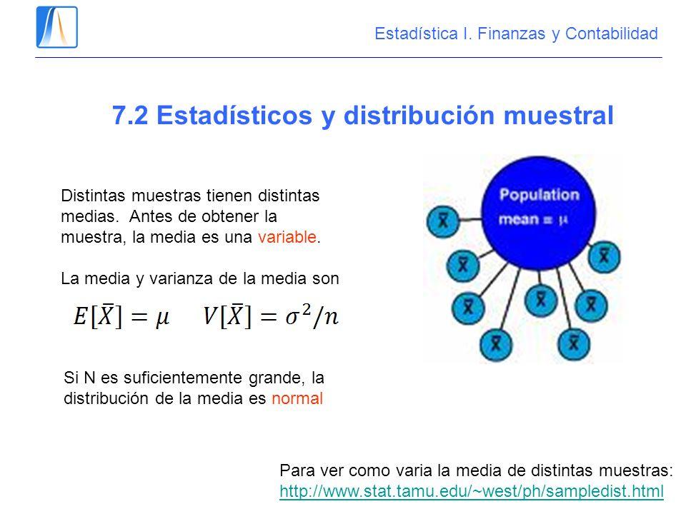 7.2 Estadísticos y distribución muestral Distintas muestras tienen distintas medias. Antes de obtener la muestra, la media es una variable. La media y