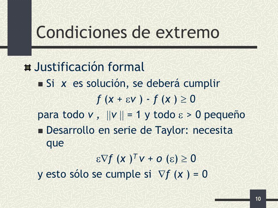 10 Condiciones de extremo Justificación formal Si x es solución, se deberá cumplir f (x + v ) - f (x ) 0 para todo v, v = 1 y todo > 0 pequeño Desarro