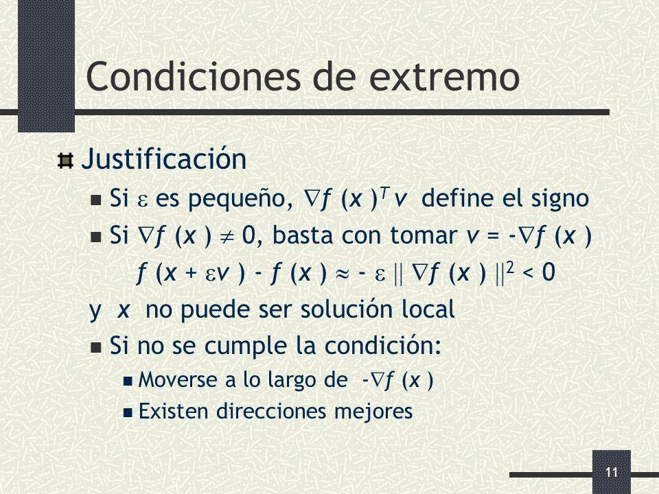 11 Condiciones de extremo Justificación Si es pequeño, f (x ) T v define el signo Si f (x ) 0, basta con tomar v = - f (x ) f (x + v ) - f (x ) - f (x
