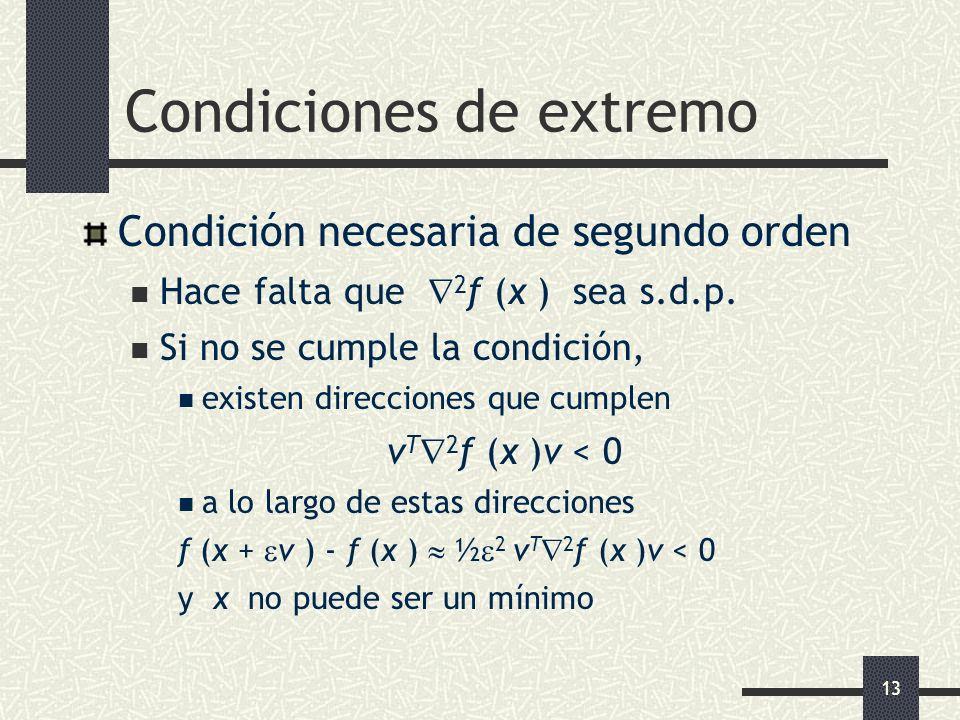 13 Condiciones de extremo Condición necesaria de segundo orden Hace falta que 2 f (x ) sea s.d.p. Si no se cumple la condición, existen direcciones qu