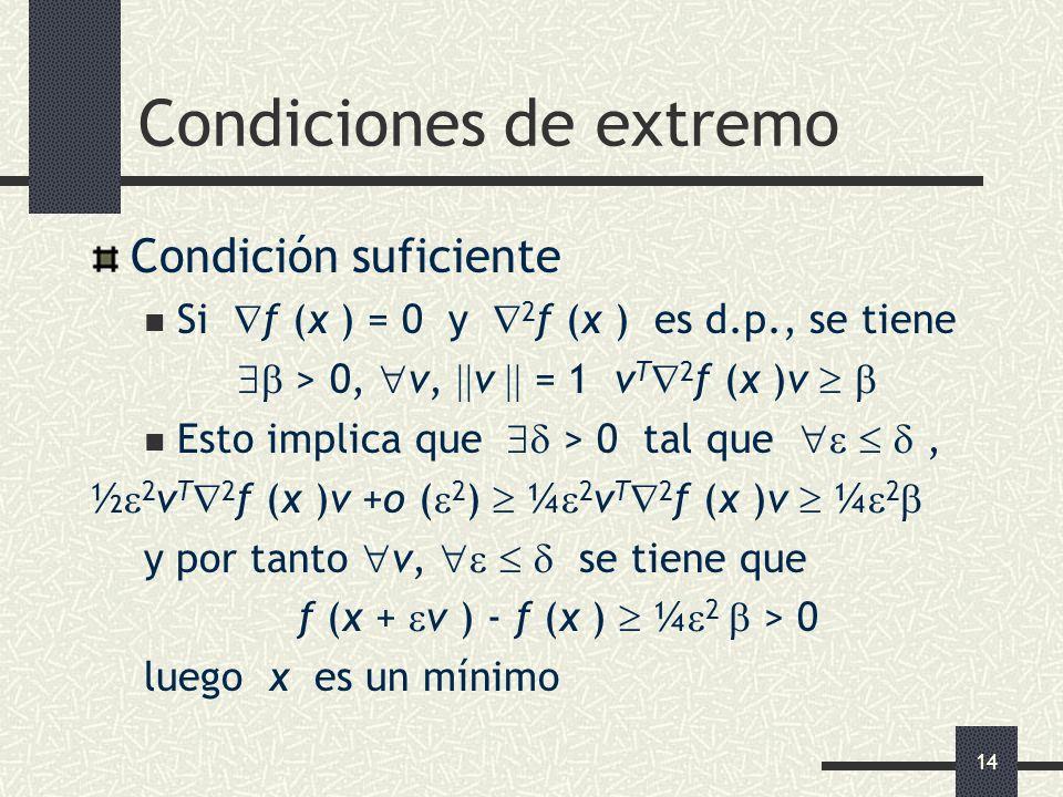 14 Condiciones de extremo Condición suficiente Si f (x ) = 0 y 2 f (x ) es d.p., se tiene > 0, v, v = 1 v T 2 f (x )v Esto implica que > 0 tal que, ½