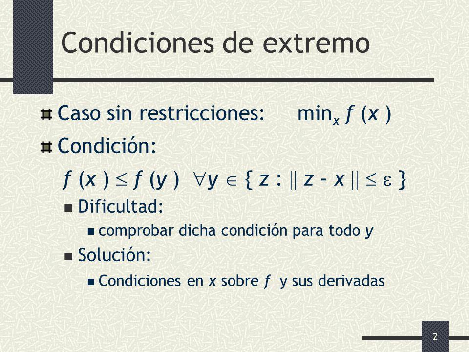 2 Condiciones de extremo Caso sin restricciones: min x f (x ) Condición: f (x ) f (y ) y { z : z - x } Dificultad: comprobar dicha condición para todo