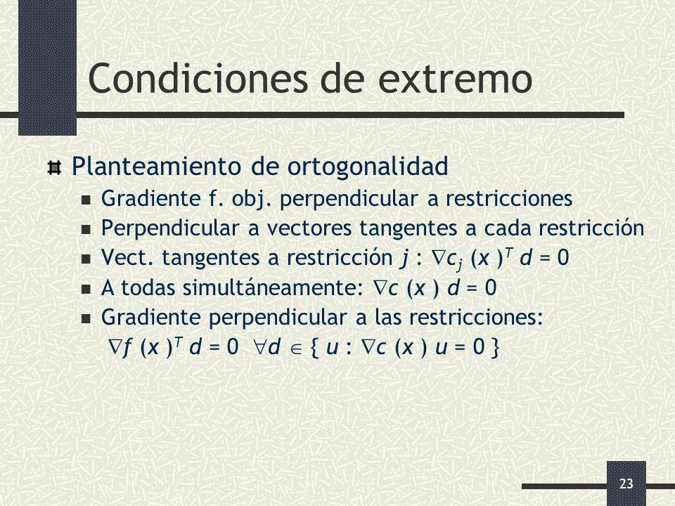23 Condiciones de extremo Planteamiento de ortogonalidad Gradiente f. obj. perpendicular a restricciones Perpendicular a vectores tangentes a cada res