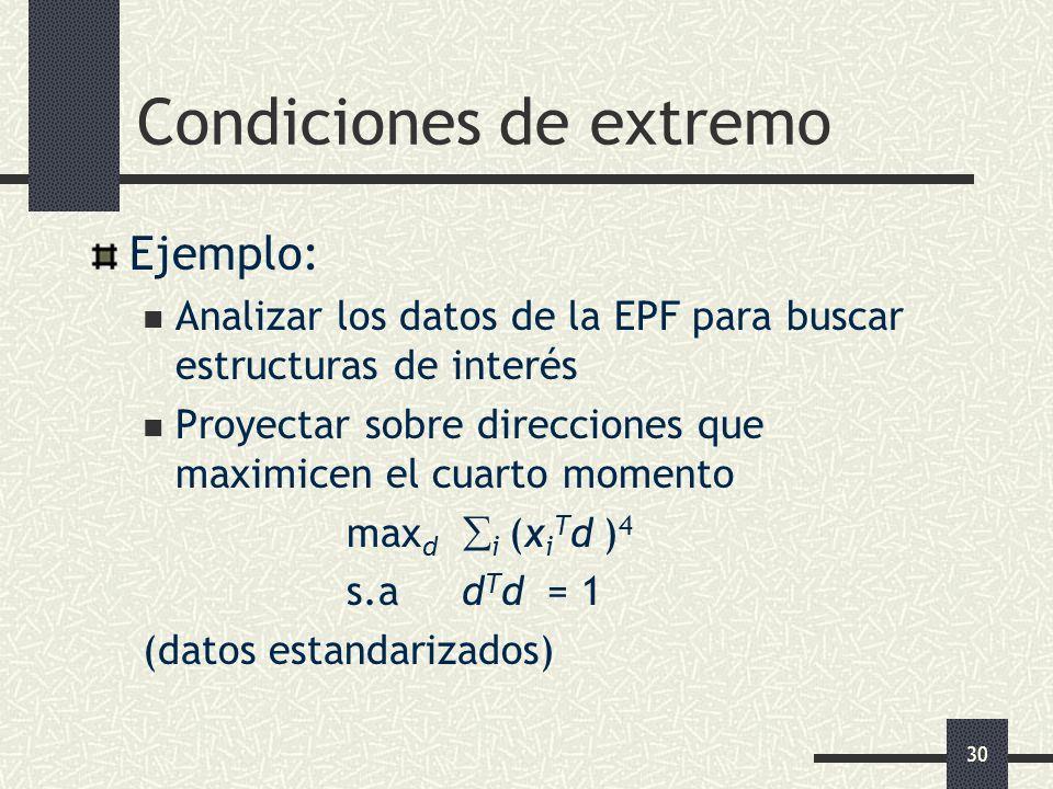 30 Condiciones de extremo Ejemplo: Analizar los datos de la EPF para buscar estructuras de interés Proyectar sobre direcciones que maximicen el cuarto