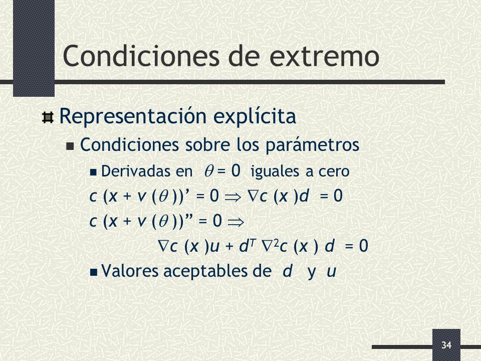 34 Condiciones de extremo Representación explícita Condiciones sobre los parámetros Derivadas en = 0 iguales a cero c (x + v ( )) = 0 c (x )d = 0 c (x