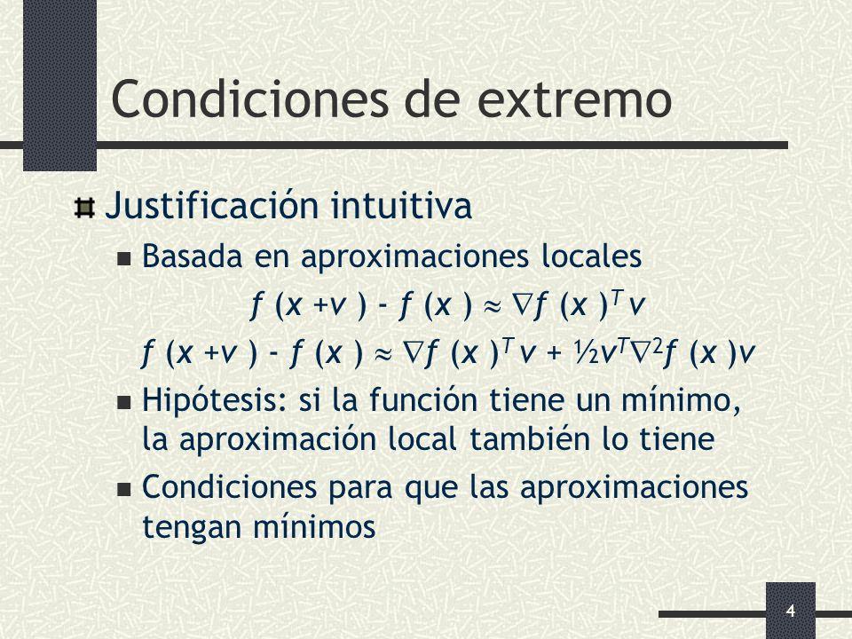 4 Condiciones de extremo Justificación intuitiva Basada en aproximaciones locales f (x +v ) - f (x ) f (x ) T v f (x +v ) - f (x ) f (x ) T v + ½v T 2