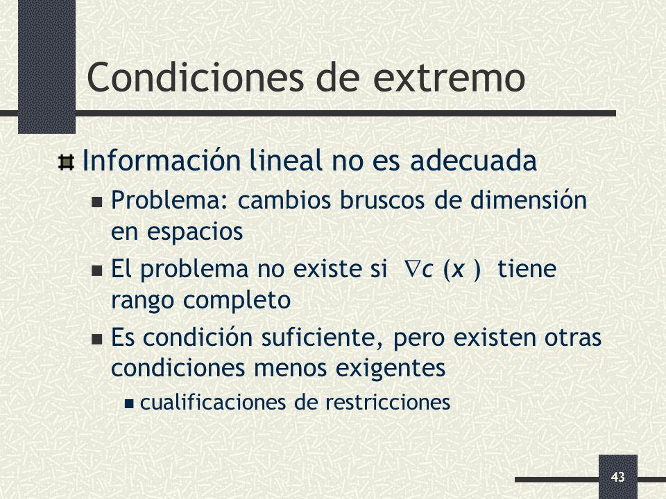 43 Condiciones de extremo Información lineal no es adecuada Problema: cambios bruscos de dimensión en espacios El problema no existe si c (x ) tiene r